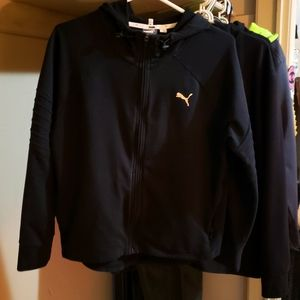 Womans Black Puma Zip up Hoodie